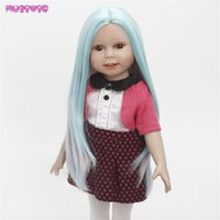 Wholesale Long Rainbow Wigs - MUZIWIG Heat Resistant Fiber Long Straight Rainbow Color Hair Wigs for American Doll