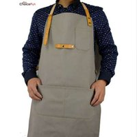 Wholesale grill apron resale online - CHOICE FUN Fashion Waterproof Home Depot Cooking Workshop Adult Waxed Canvas Leather BBQ Grill Kitchen Apron For Men