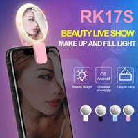 Wholesale tablet flash light - RK17S LED Selfie Flash Light Ring Fill Light 20 Bulbs Cold+Warm+Mixed light effect With Makeup Mirror For Smart phones Tablet