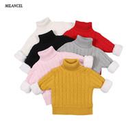 хлопок водолазка для детей оптовых-MILANCEl 2018 Girls Sweater Winter Thicken Lining Boys Sweaters Turtleneck Children's Knitwear Boys Sweaters Kids Clothing