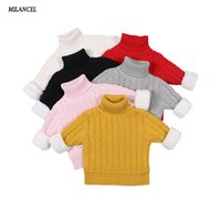 gola alta de algodão para crianças venda por atacado-MILANCEl 2018 Meninas Inverno Camisola Engrossar Forro Meninos Camisolas de Gola Alta Malhas Crianças Meninos Camisolas Roupas Infantis