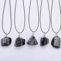 Wholesale necklace black leather pendant for sale - Group buy Black Tourmaline Pendant Necklace Raw Stone Schorl Leather Necklace Chakra Healing Crystal Quartz Point Pendant Natural Stone Necklace