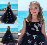 Wholesale Count Day - Butterfly Appliques Ball Gown Flower Girls Dresses For Weddings Jewel Count Train Girls Pageant Dress Zipper Back Kids Birthday Party Gowns