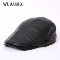 Wholesale genuine leather winter hats - High Quality Genuine Leather Sheepskin Leather Berets For Men Duckbill Winter Hat For Male Warm Hat Solid Black Russian XXL