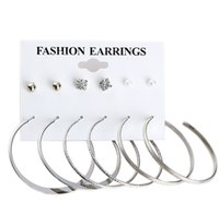 Wholesale Chandelier Frames - 30 Sets,(6 pairs set) 6 kinds modelling Earrings sets Inlaid Diamonds Pearl alloy frame anti allergy Earrings Not fading circle Ear Studs