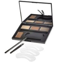 Wholesale brow concealer online - Eye Brow Contour Kit Piece Eyebrow Makeup Palette Brow Powders Brow Stencils Brush Duo Tweezer Eyebrow Enhancer Highlighter Concealer