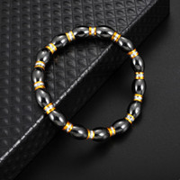 Wholesale fishing magnets - Free DHL Black Gallstone Bracelet Gold Alloy Fish Drum Bracelets Health Care Magnet Beads Bangle Women Men'S Jewelry Gift H556Q