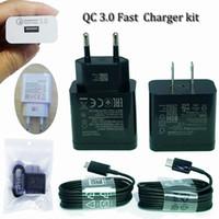 tipos de enchufe al por mayor-El adaptador de alimentación QC 3.0 S9 de cargador de pared rápido se adapta con el cable tipo C o micro usb 1.2M 5V2A 9V1.8A 12V 1.5A se adapta al adaptador de corriente con el enchufe de EE.UU.
