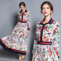 kadınlar için sonbahar elbiseleri toptan satış-2019 Yaz Güz Pist Moda Çiçek Baskı Uzun Kollu Yaka Yaka Boyun Tasarımcı Elbiseler Yeni Varış Yaz Toptan Kadınlar Bayanlar rahat