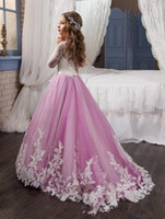 Wholesale Kids Pageant Puffy Gowns - 2018 Princess Long Sleeves Lace Flower Girl Dresses Vestidos Puffy Pink Kids Evening Ball Gown Party Pageant Dresses Girls