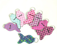Wholesale lips for cars resale online - Lili Printing Chapstick Holder Handy Lip Balm Holder Keychain Pouch for Chapstick Lipstick Tracker Party Favor CCA10083