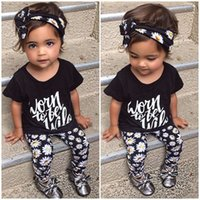 Wholesale Girls Clothing Leopard Print - fashion printed girl suits black haedband letter short t-shirt floral pants baby casual girl clothing sets 3pcs cotton o-neck tops wholesale