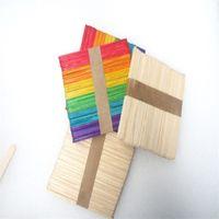 juguete de madera para herramientas al por mayor-Palitos de paleta de madera coloreados Helado de madera natural Juguete manual Niños artesanías de bricolaje Artesanía Lolly Cake Herramientas 3xs Y