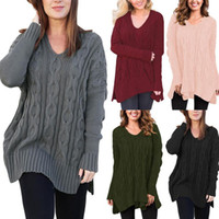 Wholesale Black Loose Knit Jumper - Women Casual Loose Irregular V Neck Knitted Sweater T-shirt Tops Long Sleeve Solid Pullover Sweater Tops OOA3963