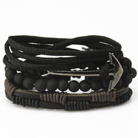 anclajes pulseira al por mayor-Nuevos accesorios de moda de ancla de cuero de cuentas pulseras brazaletes 4 pcs 1 Sets Multilayer pulsera trenzada pulsera hombres pulseira