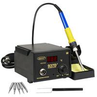 soldadura de alta calidad al por mayor-937D 60W Estación de hierro caliente para soldar SMD Digital Pantalla LED ajustable Libre 5 consejos Alta calidad