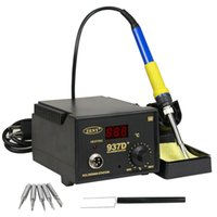 Wholesale soldering iron tips resale online - 937D W SMD Soldering Hot Iron Station Digital Adjustable LED Display Free Tips High Quality