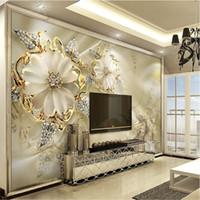 flor de arte mural al por mayor-Custom 3D Mural Wallpaper European Style Diamond Jewelry Golden Flower Telón de fondo Decoración Mural Arte Moderno Pintura de Pared Sala de estar