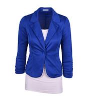 Wholesale Dark Green Suit Coat - Fashion Women Suit Blazer Candy Color Blazers Jacket coats Cotton & Spandex OL Jacket Outwear 19 Color 6 Sizes Feminino Coat Suits