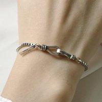 ingrosso donne di braccialetto d'argento spesso-gioielli di lusso S925 braccialetti in argento sterling scatola spessa catena 3mm bracciali fatti a mano per le donne moda hot