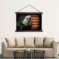 ingrosso dipinti di bandiera americana-Poster HD Canvas Poster per interni Home Decor American Flag Dipinti di aquila con legno massello Hanging Scroll Immagini Wall Art