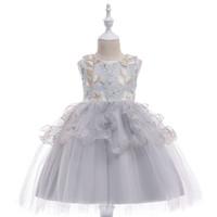 детские вуали оптовых-Девушки платье принцессы костюм дети платья цветок вышивка дети вуаль пачка платье