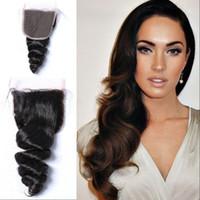 Wholesale 18 human hair colour online - 100 Virgin Indian Human Hair x4 Loose Wave Top Closures Free Part Natural Colour No Shedding
