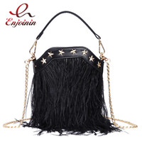 ingrosso tote della borsa della piuma-Luxury Fashion Feather Nappa Casual Ladies Borsa a secchiello Borsa a tracolla Borsa a tracolla Mini Messenger per le donne