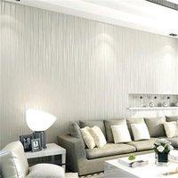 düz yatak odası duvar kağıdı toptan satış-Ayışığı Orman 3D Wallpaper Düz Trend Dikey Çizgili Dokuma Oturma odası TV Arkaplan Duvar Sticker Romantik Stil 13jm ZZ