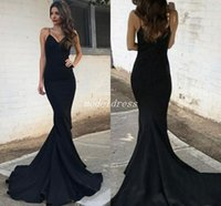 Wholesale occasion elastic spaghetti special dresses for sale - Group buy Black Elegant Mermaid Evening Formal Dresses Spaghetti Backless Sweep Train Formal Prom Party Gowns Special Occasion Dress Plus Size