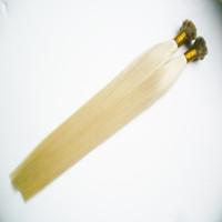 düz bağlanmış saç uzatmaları toptan satış-Tırnak Düz Ucu İnsan Saç Uzatma Sarışın bakire saç 100g Remy Keratin Saç Uzatma Keratin Saç Uzatma Üzerinde Kapsül
