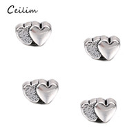 Wholesale bracelets connectors charm heart - 100pcs lot Antique Silver Color Heart Charms Connectors Fashionable Floating Charms For Bracelets Jewelry Making DIY Handmade