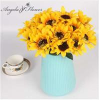 ramos amarillos al por mayor-1 ramo de Girasol de Seda Amarillo flor decorativa 7 rama / ramo de dos tamaños elegir la decoración del hogar de flores artificiales