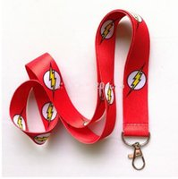 Wholesale flash badges - New Style ! 30pcs cartoon the flash Red Straps Lanyard ID Badge Holders Mobile Neck Key chains