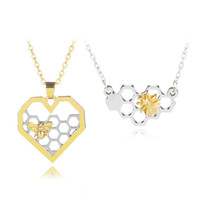 Wholesale gold bee necklace - Fashion Silver Gold Hollow Heart Honeycomb Bee Necklace Pendants Fashion Jewelry for Women Kids Gift Drop Shipping