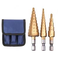 pedaços de ferramentas para brocas venda por atacado-3 pcs aço HSS Titanium passo brocas Set passo Cone ferramentas de corte brocas de madeira de madeira para madeira de Metal perfuração Bits Set