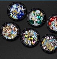 elmas şekilli kristaller toptan satış-Tırnak Takı Şekilli Diamonds Şeffaf AB Rhinestone Kristal Cam Süs Inciler karışık 6 renkler DHL 30