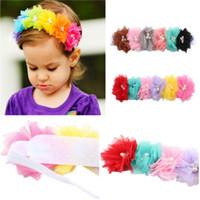 banda de flores de malla al por mayor-Pudcoco Kids Baby Infant Princess Mesh Flower Girl Hair Band diadema Headwear Accesorios