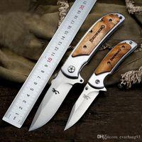 kahverengileşen 338 av bıçağı toptan satış-Yüksek kalite!!! Browning 338 Küçük Cep Katlanır Bıçaklar 440C 57HRC Taktik Kamp Avcılık Survival EDC Araçları Ahşap Kolu Programı Araçları