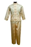 pantalones de satén chino al por mayor-Plus Size XXXL Pijamas de satén de estilo chino para hombres Conjunto Botón de pijama de época Traje de manga larga Ropa de dormir ShirtPant Nightwear