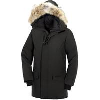cuello de piel abrigo hombre al por mayor-DHL Freeshipping Marca Parka abajo de la chaqueta de los hombres Parka invierno cálido abrigos gruesos cuello de piel con capucha DownJackets