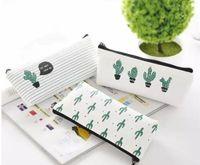 kalem kalem cüzdanları toptan satış-Yaratıcı kaktüs Kalem Kutusu Çanta tuval Taşınabilir Kalem Para Cüzdan şerit fermuar Kılıfı Cep Anahtarlık Hediye Kawaii kalem Çantası sevimli tasarım