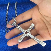 Wholesale dominic toretto pendant - The Fast and the Furious necklace Dominic Toretto Vin New Movie Jewelry Crystal Christian cross Rhinestone Pendant Necklaces Jesus charm