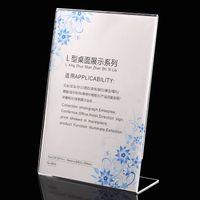 acryl display zeichenhalter großhandel-Am billigsten!!! 21 * 29,7 cm acryl Schildhalter Anzeigenrahmen Display Racks Klar Tischschild Display Halter Werbung display ausrüstung