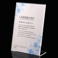 équipement acrylique achat en gros de-Le moins cher !!! 21 * 29.7cm acryliques supports d'affichage de cadre d'annonce de support de signe clair support d'affichage de signe de table matériel d'affichage de la publicité