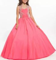rosa quente menina vestidos venda por atacado-Hot Pink Beads Cristal Lantejoulas 2020 Flower Girl Dress Meninas Pageant Vestidos de Baile Flor Meninas Formal Tutu Vestido de Festa para As Crianças