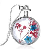 mavi renkli kolye kolye toptan satış-Chic Şeffaf Kristal Yüzen Kurutulmuş Kırmızı Mavi Çiçek Bitki Kolye Charm Locket Kolye Kadınlar için Kazak Zincir Takı