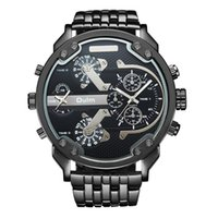 Wholesale Heavy Stainless Wrist - Oulm Exaggerated Large Big Watches Men Luxury Brand Unique Designer Quartz Watch Male Heavy Full Steel Leather Strap Wrist Watch