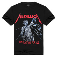 Wholesale cotton spandex shirt long sleeve - S-3XL[Men bone] Men T Shirt Black T-Shirt Cotton Metallica Print Heavy Metal Rock Hip Hop Punk Clothing Summer Tee