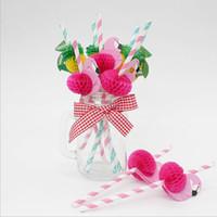 palhas de vaso venda por atacado-Atacado 6 * 197mm Canetas De Papel Flamingo Rosa E Azul Palhas Decorações de Casamento Fontes Do Evento Do Partido Ferramentas Bar para Tumbler Copos